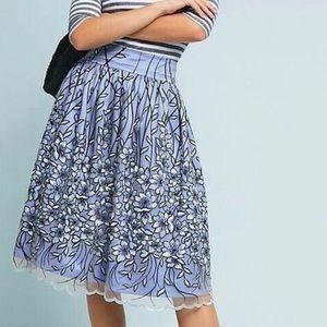 Anthropologie Eliza J Blue Tulle Skirt Embroidered